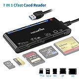 Kartenleser USB 3.0, Rocketek 7-in-1-Speicherkartenleser, USB 3.0 (5 Gbps) Hochgeschwindigkeits-CF/SD/TF/XD/MS/Micro-SD-Kartenlösung All-in-One-Kartenleser für Windows XP/Vista/Mac OS/Linux, etc