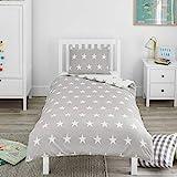 Bloomsbury Mill – Graue & Weiße Sterne – Bettwäscheset für Kinder – Bettbezug 135cm x 200cm und Kissenbezug für Einzelbett