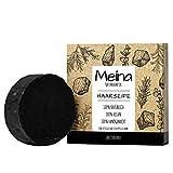 Meina Naturkosmetik - Schwarze Haarseife mit Aktivkohle gegen Schuppen und fettiges Haar, Vegan Shampoo Bar, festes Shampoo - Palmölfrei, Plastikfrei (1 x 80 g)