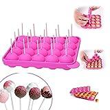 YIQI 20 Hohlraum Formen Silikon Lollipop Tablett - Größe 22.5*18*3 cm Kreis Durchmesser 4 cm , hitzebeständig -40°C zu 230°C mit 20 Sticks (Rosa)