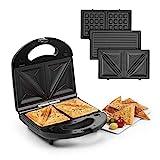 Klarstein Trilit 3-in-1 Sandwich Maker Panini Maker Kontaktgrill Waffeleisen, 750 Watt, 3 austauschbare Aluminium-Grillplatten, Anti-Haft-Beschichtung, rutschfest, Kunststoff-Gehäuse, schwarz