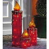 Pureday 3-teiliges Set LED Dekoleuchten Maxikerzen Outdoorgeeignet rot