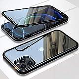Hülle fur iPhone 12/12 Pro Magnetisch Handyhülle,360° Full Body Schutz hülle,Vorne hinten Transparent Gehärtetem Glas Stark Magnet Metallrahmen Stoßfest Flip Case fur iPhone 12/12 Pro 6.1',Schwarz