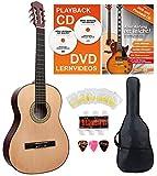 Classic Cantabile AS-851 7/8 Konzertgitarre Starter Set (Komplettes Anfänger Set mit Klassik Gitarre, Gigbag Tasche, Nylonsaiten, Lehrbuch/Schule inkl CD und DVD, 3x Plektren und Stimmpfeife)
