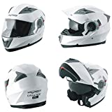 A-Pro Helm Klapphelm Innensonnenblende Motorradhelm Modular Weiss M