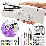 TTMOW Mini Nähmaschine, Handnähmaschine, Tragbare Schnellstichwerkzeug, AA Batteriebetrieben für Kleidung Stoff, Vorhang, Schal, DIY (Weiß)