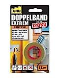 UHU Doppelband Extrem, Extrem hohe Klebekraft von 120 kg/ Rolle, 1,5 m x 19 mm