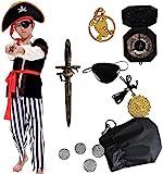 Tacobear Piratenkostüm Kinder Jungen mit Piraten Zubehöre Piraten Augenklappe Piraten Dolch Kompass Geldbeutel Ohrring Kinder Piraten Fancy Dress Kostüm Jungen (S 4-6 Jahre)