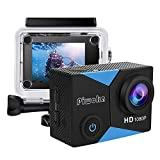 Piwoka Action Cam, Full HD 1080P 12MP Unterwasserkamera wasserdichte 30M Helmkamera 140 °Weitwinkelobjektiv für Beginner mit Zubehör Kits (Schwarz-Blau)