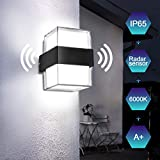 Lureshine LED Außenleuchte mit Radarwarner Wandleuchte 18W 1800LM Außenlampe 6000K Kaltweiß IP65 Wasserdicht Außenbeleuchtung Geeignet für Außenwände, Gärten, Garagen, Tore usw.