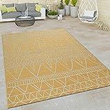 Paco Home In- & Outdoor Flachgewebe Teppich Modern Ethno Muster Zickzack Design In Gelb, Grösse:120x160 cm