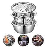 starte 3PCS / Set Küchenkäsereibe mit Edelstahl-Auffangbecken für Küchengemüse Obstsalat Schokolade - einfach zu bedienen und rutschfest