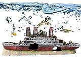 YOUTHINK Aquarium Deko, Deko Aquarium Schiffswrack Dekoration Natur Harz Aquarium Ornament Dekoration Schiff für 10 Gallonen Aquarium für Kleine Fische Hidiing 28 * 10 * 6 cm