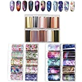 Kalolary 30 Rolls Transferfolie Nailart, Transferfolie Nägel Nagelfolie Aufkleber, Nailart Folie Transfer Nail Art Fittings Nagel Sticker Nagelfolien Set Glänzende Deko DIY Nagelschmuck