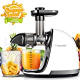 AMZCHEF Slow Juicer BPA-frei Entsafter Gemüse und Obst Profi Entsafter mit Ruhiger Motor & Umkehrfunktion & Saftkanne & Reinigungsbürste(150 Watt/Beige)