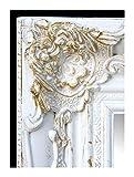 Lnxp Wandspiegel Barockspiegel 55x45 cm Rechteckig Weiß/Gold Flurspiegel BAROCK Antik Repro Shabby Opulenter Prachtvoller Renaissance Spiegel Barockstil