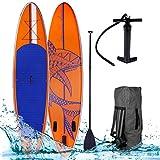SUP Board Stand up Paddle Paddling Surfboard Shark Orange 300x76x15cm aufblasbar Alu-Paddel Hochdruck-Pumpe Transportrucksack 115KG Tragkraft