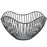 Miner Metalldraht Obstbehälter Schalen Stehen für Moderne Küchenarbeitsplatte große runde Schwarze Aufbewahrungskörbe, schwarz