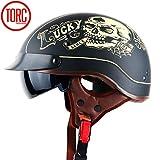 YXNB® Brain-Cap · Halbschale Jet-Helm Motorrad-Helm, Matt Black Motorrad Half Helm mit Drop Visier für Cruiser Chopper Biker Lucky Skull, DOT Zertifizierung,XL61~62cm