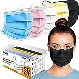 Orzly Einweg-Gesichtsmasken Packung mit 50 verschiedenen Farben - 3-lagige atmungsaktive Mundbedeckung - Colourpop Edition