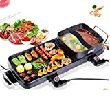 NYSCJJJ Elektrische Non-Stick Teppanyaki Table Top Grill-Kochplatte mit integriertem Heizelement, regelbarem Thermostat, Fettauffangschale und Cool-Touch-Griffe - 1500w elektrischer Smokeless