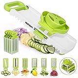 Sedhoom 6 in 1 Gemüsehobel verstellbar, Mandoline Gemüsereibe mit 6 Klingen, multifunktionaler Gemüseschneider und Küchenhobel, Reiben, Julienne, Hobeln, Ideal zum Schneiden vom Waffel Chips (Mehrweg)