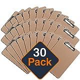 Klemmbrett mit Papier Clip, Clipboard-Set | Umweltfreundliche Klemmmappe für DIN A4 Unterlagen, Schreibblock mit Metallclip (30 Stück)
