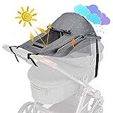WD&CD Sonnensegel Kinderwagen mit UV Schutz 50+ und Wasserdicht, Double layer fabric mit Sichtfenster und extra breite Schattenflügel, Grau