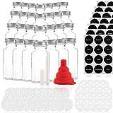 28 Gewürzgläser Set mit 42 Ausgießern – Glasbehälter mit einer Füllmenge von 170ml – Wiederverwendbare Gläser mit Luftdichtem Deckel – Bedruckte und unbedruckte Label – Mit Stift