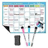 Magnetische Kalender Ideal für Study Planning, Prüfungen, Chores oder Diät - Kühlschrank White Board Task Plan enthält FREE Dry Erase Pens