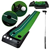 wolketon Golf Puttingmatten Golf Putting Trainer Matte mit Auto Ball Return Funktion 2.5x0.3 M