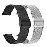 TRUMiRR Ersatz für Samsung Galaxy Watch 46mm/Gear S3 Frontier/Gear S3 Classic Armband, 22mm Mesh Gewebte Edelstahl Armband Metall Uhrenarmband Business Ersatzband für Huawei Watch GT/Watch GT 2 46mm
