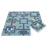 Leo & Emma Hochwertige Puzzlematte Spielstraße Kinder-Spielteppich Spielmatte mit Straßenzug Als Krabbelmatte zum Toben, mit tollem Polizei Straßenmuster als Spieldecke Neu Modell 2020 TÜV getested