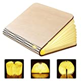 GEEDIAR Große LED Buch lampe in Buch Form Holzbuch mit 2500 mAh Akku Lithium Nachttischlampe Nachtlicht dekorative Lampen DuPont Papier + Holz Einband warmweiß Licht