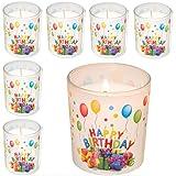 Smart Planet® 6er Set Happy Birthday Kerze im Glas - Geburtstagskerze schönes Geschenke Motiv Geschenk Idee zum Geburtstag - Deko Kerzen 6 Stück
