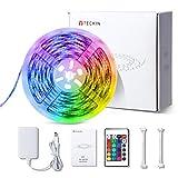 LED Strip RGB 5m, TECKIN 5050 RGB LED Streifen Wasserdicht und Selbstklebend mit Fernbedienung und Netzteil LED lichterkette für die Innenbeleuchtung Küchen Bar Flexible Beleuchtungsstreifen