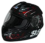 Protectwear Motorradhelm Design 99, Schwarz/Rot, M