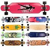 FunTomia Longboard Skateboard Drop Through Cruiser Komplettboard mit Mach1 High Speed Kugellager T-Tool mit und ohne LED Rollen Flex 1