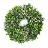 Eifelgrün frischer Mix-Adventskranz - Premium Halbrund Gebunden Ø 32-35 cm