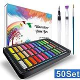 Aquarellfarben Set , RATEL Aquarell Malkasten Inklusive 36 Farben Festes Pigment + 1 Hookline-Stifte + 2 Wassertankpinsel + 10 Aquarellpapiere - wasserlöslich und gut mischbar Aquarell-Farben-Set