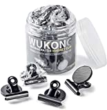 Wukong12 Stück Schwarz Magnetclips Metall Magnete Haken Klammer Clips Kühlschrankmagnete für Kühlschrank, Pinnwand, Tafel, Büro, Küche