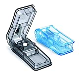 GeekerChip Tablettenteiler[2 Stück]für Große und Kleine Tabletten,Medikamententeiler mit Aufbewahrungsfach,teilt Pillen exakt(Blau+Schwarz)