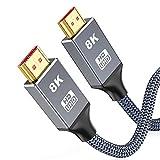 8K HDMI 2.1 Kabel 2Meter,Snowkids Ultra Highspeed HDMI Kabel 48Gbps für ruckelfreies 8K@60Hz,4K@120Hz,Dynamisches HDR, 3D-kompatibel mit UHD-TV, für Monitor, Projektor