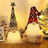 GMOEGEFT Skandinavische Weihnachtswichtel Lichter mit Timer, Schwedischer Weihnachtsmann Tomte Zwerg Nordic Xmas Dekoration - 2er Set (Schneeflockenmuster) 18.8 x 4.8 Zoll