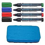 Schneider Maxx 290 Marker (für Whiteboards und Flipcharts, Rundspitze 2-3 mm Strichstärke) Etui mit 4 Farben (4er Marker inkl. Whiteboardschwamm)