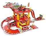 Brigamo ★ Feuerwehr Station Parkhaus Rennbahn mit Spielzeugauto und Hubschrauber ★