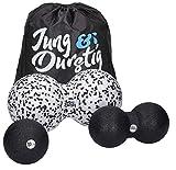 Jung & Durstig Original Faszienball-Set mit Anleitung | Massageball | Twinball | Faszienrolle Wirbelsäule | Duoball 8 u 12cm inkl Ebook