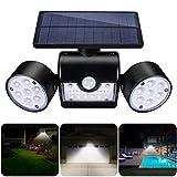 Solarleuchte Garten, GIANTARM 30 LED Solarlampen für Außen mit Bewegungsmelder, Solar IP65 Wasserdicht Wandleuchte Aussenlampen, 360° Drehbar Dual Lichtkopf für Garage.