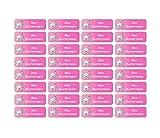 Sunnywall Namensaufkleber Namen Sticker Aufkleber Sticker 4,8x1,6cm | 60 Stück für Kinder Schule und Kindergarten 38 Hintergründe zur Auswahl (24 Einhorn)