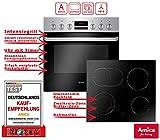 Amica EHC 933 015 E Einbauherd Set   9-fach Multifunktion Backofen mit Grill und Umluft   Rahmenloses Glaskeramik Kochfeld mit Zweikreis und Bräterzone   Timer   Steam Clean